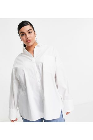 ASOS ASOS DESIGN Curve long sleeve oversized dad shirt in cotton in