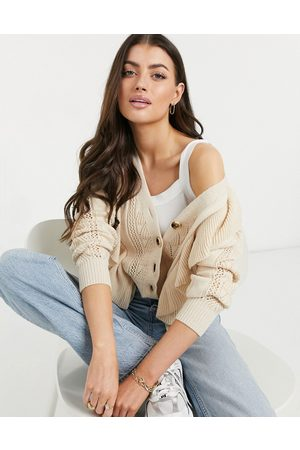 Y.A.S Textured knit cardigan in pale