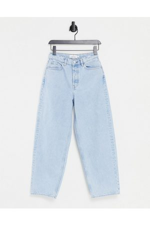 & OTHER STORIES & Major organic cotton high waist tapered leg jeans in stone blue-Blues