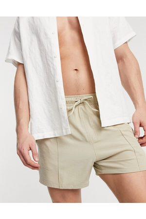 ASOS Swim shorts in short length linen look with pin tuck - part of a set-Neutral