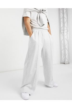 ASOS Coordinating oversized wide leg sweatpants in heather with pin tuck