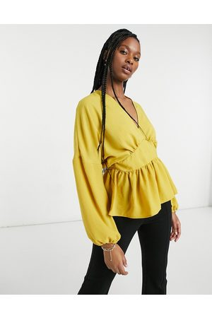 ASOS Long sleeve wrap front blouse in mustard