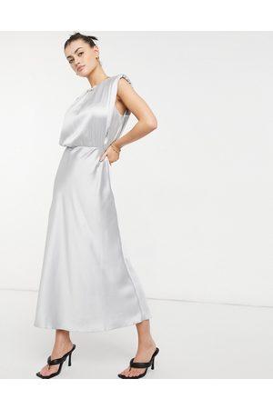 ASOS Sleeveless satin midi dress in silver-Grey