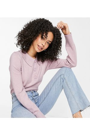 ASOS ASOS DESIGN Tall sweater with collar and button placket in lilac