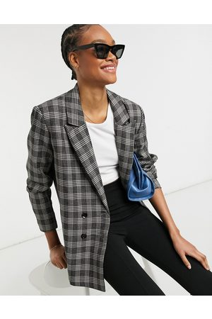 Urban Threads Oversized double breasted blazer in gray check