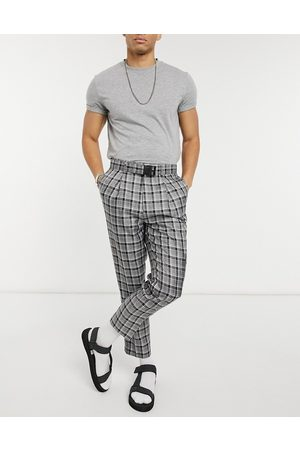 ASOS Tapered smart cargo pants in check with multi pockets-Grey