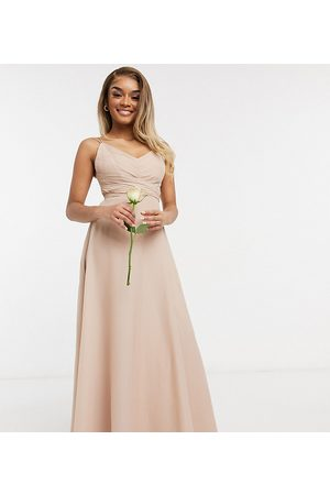 ASOS ASOS DESIGN Petite Bridesmaid cami maxi dress with ruched bodice and tie waist in Blush