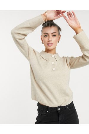 ASOS Sweater with collar and button placket in oatmeal