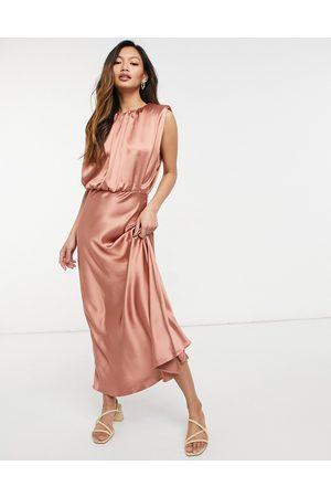 ASOS Sleeveless satin midi dress in blush