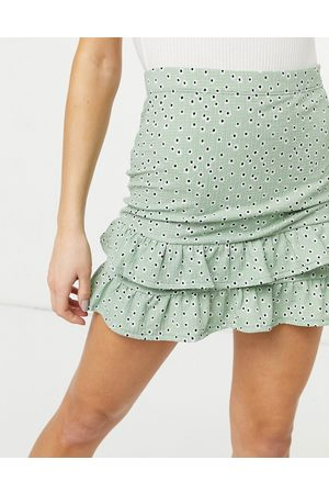 Miss Selfridge Mini skirt with ruffle detail in floral
