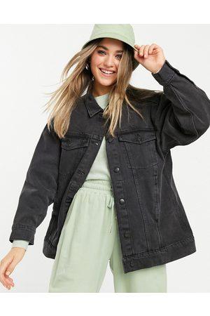 Monki Katrina organic cotton oversized denim jacket in washed