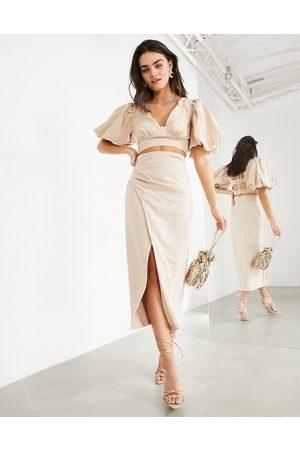 ASOS Matching midaxi linen skirt with thigh slit