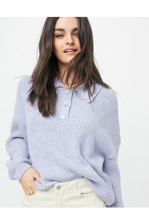 ASOS Sweater with collar and button placket in blue-Blues
