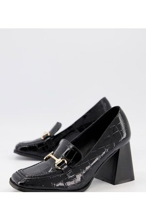 Raid Wide Fit Oregon heeled loafers in patent croc