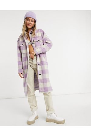 VIOLET ROMANCE Checked longline shacket-Multi