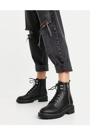 River Island Patent lace up chunky boot in