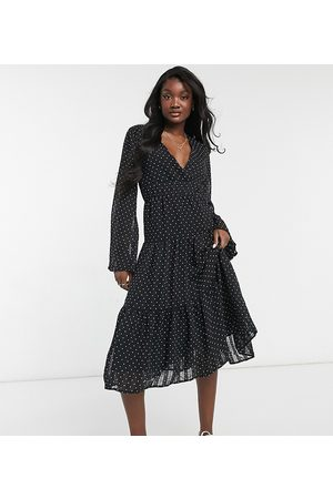 Y.A.S Tiered midi dress with v neck in polkadot print