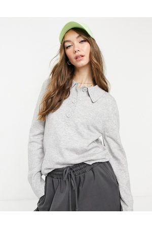 ASOS Sweater with collar and button placket in -Grey