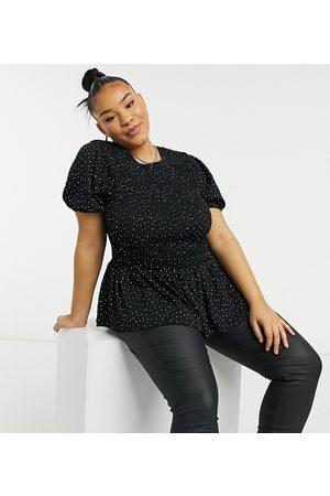 Simply Be Peplum top in black polka dot-Multi