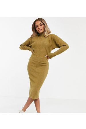 Vila High neck long sleeve knitted dress in