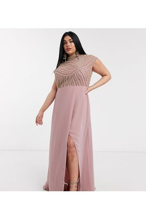 ASOS ASOS DESIGN Curve maxi linear embellished bodice dress with high neck and wrap skirt-Multi