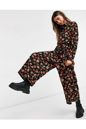 ASOS High neck jumpsuit in red floral print-Multi