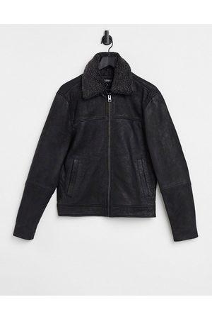 Barneys Originals Barney's borg collar leather jacket in