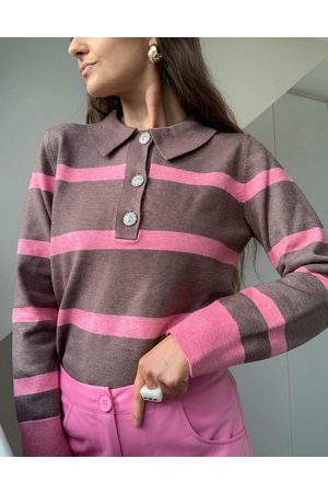 ASOS Sweater with collar and placket with jewel buttons in stripe