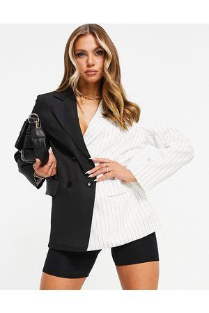 Missyempire Missy Empire contrast oversized blazer in black multi