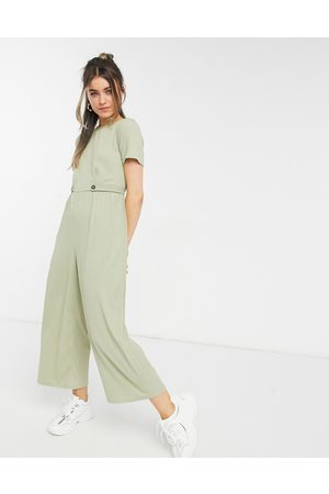 ASOS Button detail jumpsuit in olive
