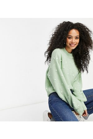 ASOS ASOS DESIGN Tall sweater with contrast pom-pom detail in sage