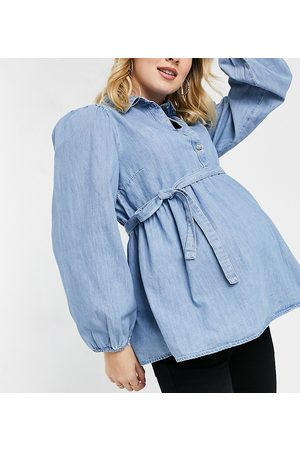 Mama Licious Mamalicious Maternity denim smock shirt with removeable tie waist in blue-Blues