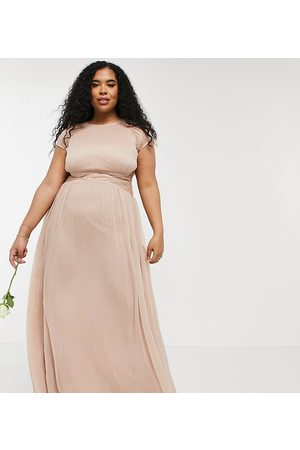 ASOS ASOS DESIGN Curve Bridesmaid ruched bodice maxi dress with cap sleeve detail