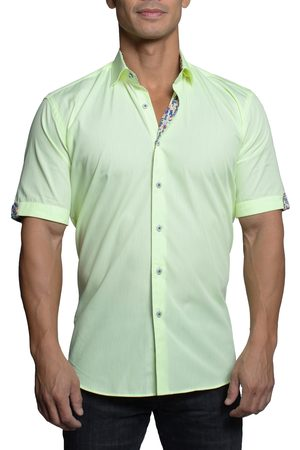 Maceoo Men's Galileo Stripe Short Sleeve Button-Up Shirt