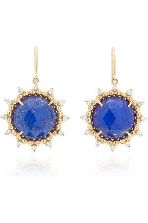 Kathryn Elyse Women's Sunburst 14K Yellow Gold Lapis and Diamond Earrings - - Moda Operandi