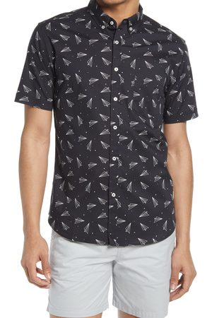 Public Art Men's Paper Airplane Short Sleeve Button-Down Shirt