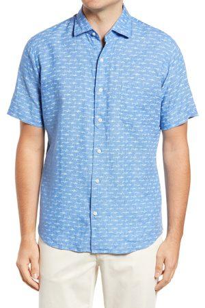 Peter Millar Men's Synch Swim Fish Print Short Sleeve Linen Button-Up Shirt