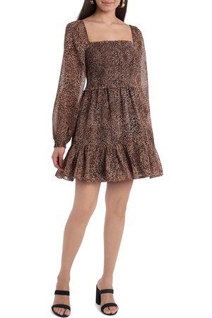 1. STATE Women's Smock Bodice Ruffle Hem Long Sleeve Minidress