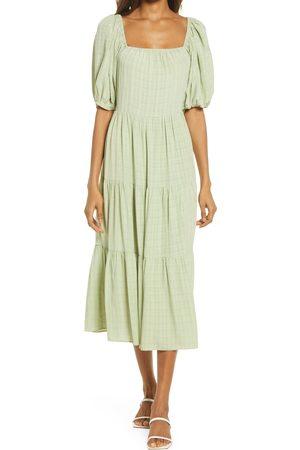 NSR Women's Mila Puff Sleeve Ruffle Midi Dress