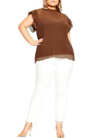 City Chic Plus Size Women's Off Beat Ruffle Sleeve Top