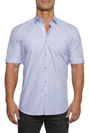 Maceoo Men's Galileo Dot Regular Fit Short Sleeve Button-Up Shirt