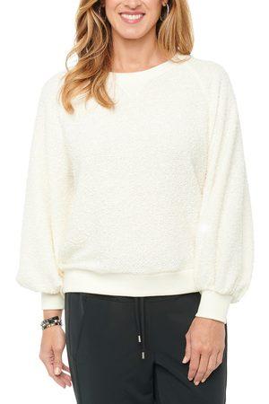 Wit & Wisdom Women's Textured Knit Blouson Sleeve Sweatshirt