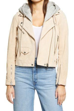 BLANK NYC Women's Suede Hooded Leather Moto Jacket
