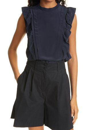 REBECCA TAYLOR Women's Pintuck Sleeveless Silk Blouse