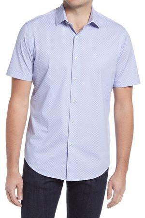 Bugatchi Men's Ooohcotton Tech Geometric Short Sleeve Knit Button-Up Shirt