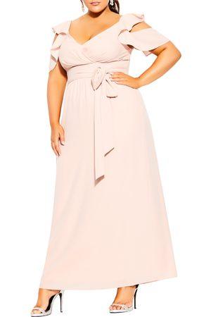 City Chic Women Maxi Dresses - Plus Size Women's Ruffle Trim Maxi Dress