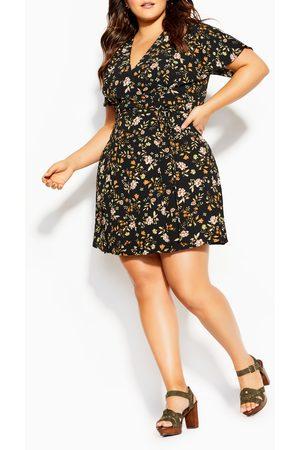 City Chic Plus Size Women's Autumn Ditsy Faux Wrap Dress