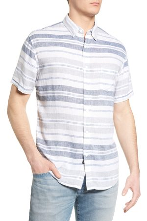 Rails Men's Carson Stripe Short Sleeve Button-Up Linen Blend Shirt