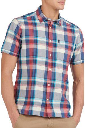 Barbour Men's Tailored Fit Madras Plaid Short Sleeve Button-Up Shirt