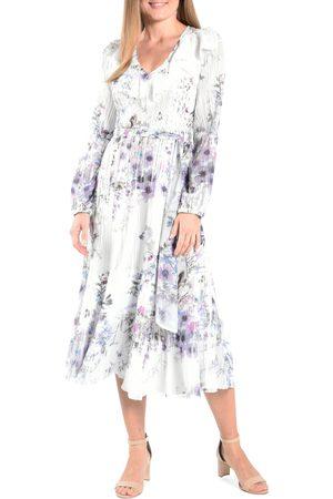 Komarov Women's Floral Print Long Sleeve Midi Dress